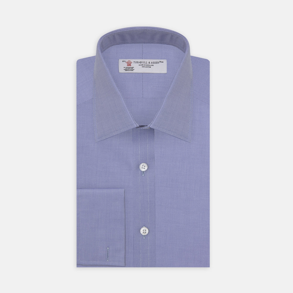 Blue Superfine Oxford Cotton Shirt with T&A Collar and Double Cuffs