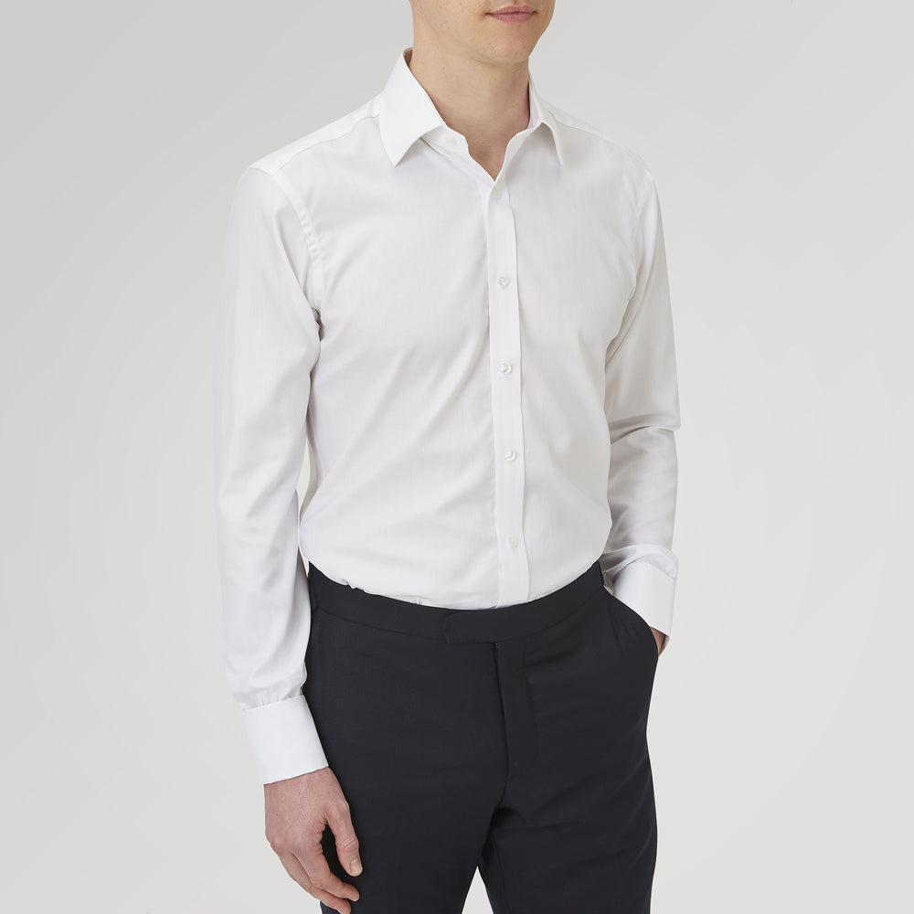 White Herringbone Sea Island Quality Cotton Shirt with T&A Collar and Double Cuffs