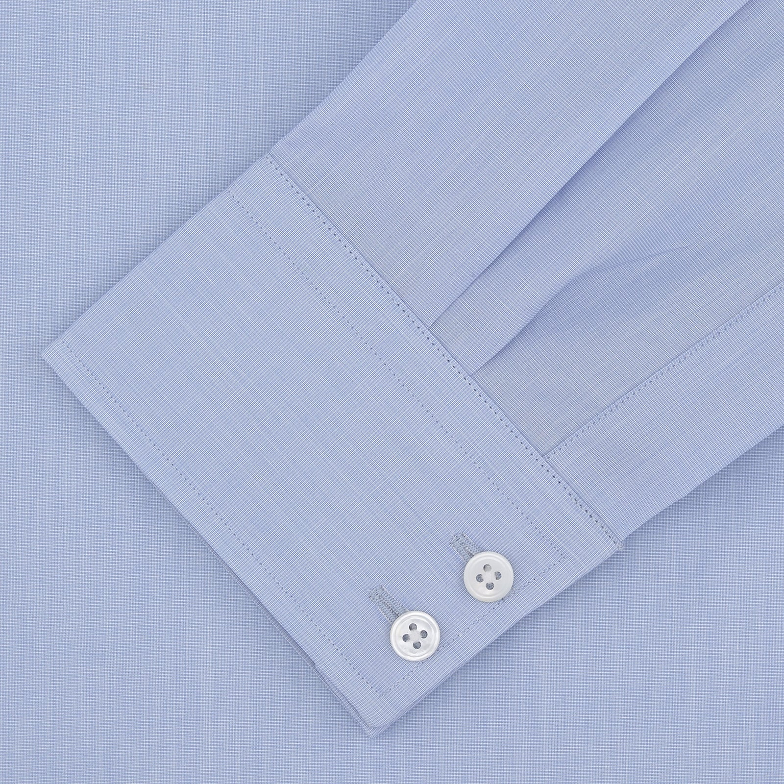Tailored Fit Light Blue End-on-End Shirt With Kent Collar and 2-Button Cuffs