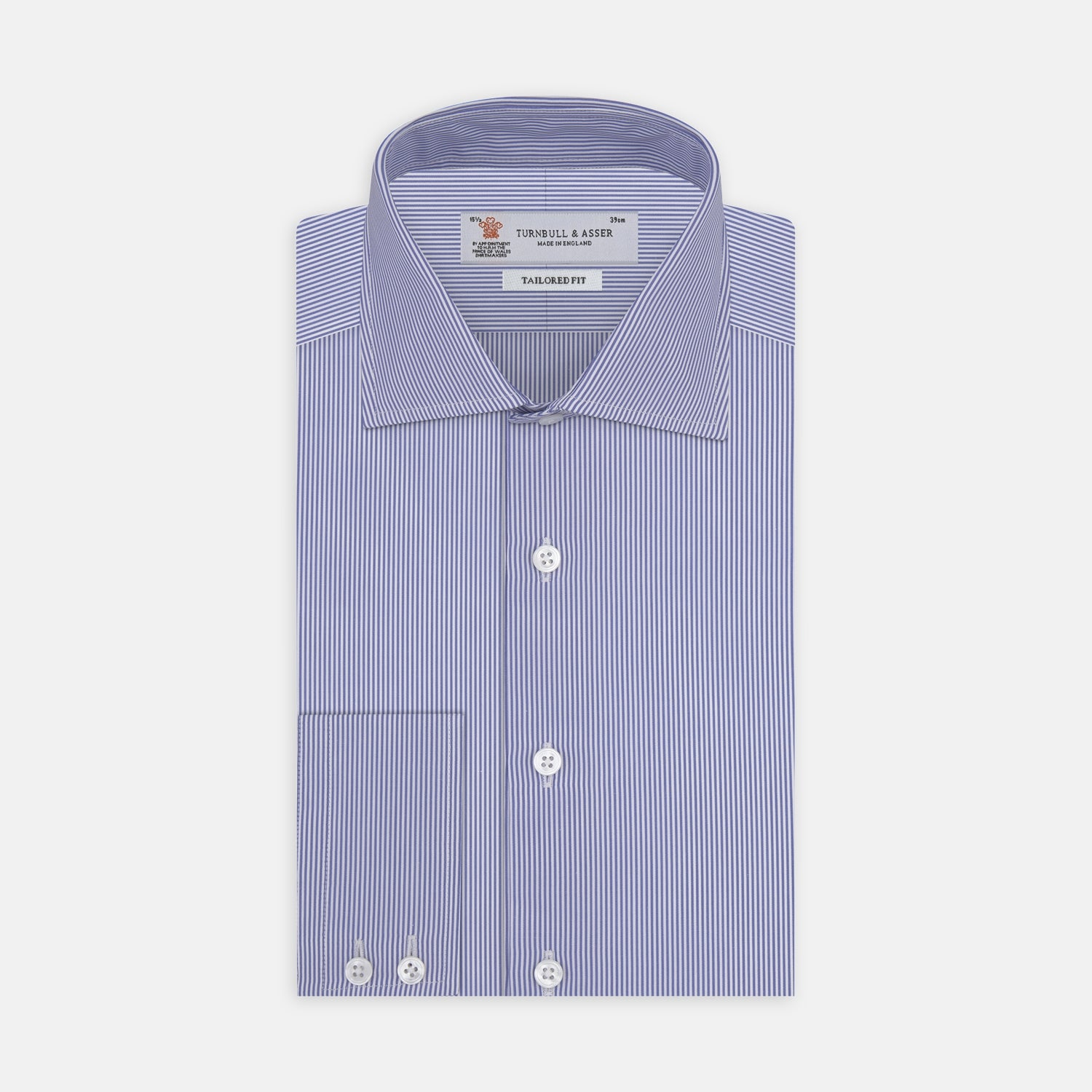 Tailored Fit Blue Fine Bengal Stripe Shirt with Kent Collar and 2-Button Cuffs
