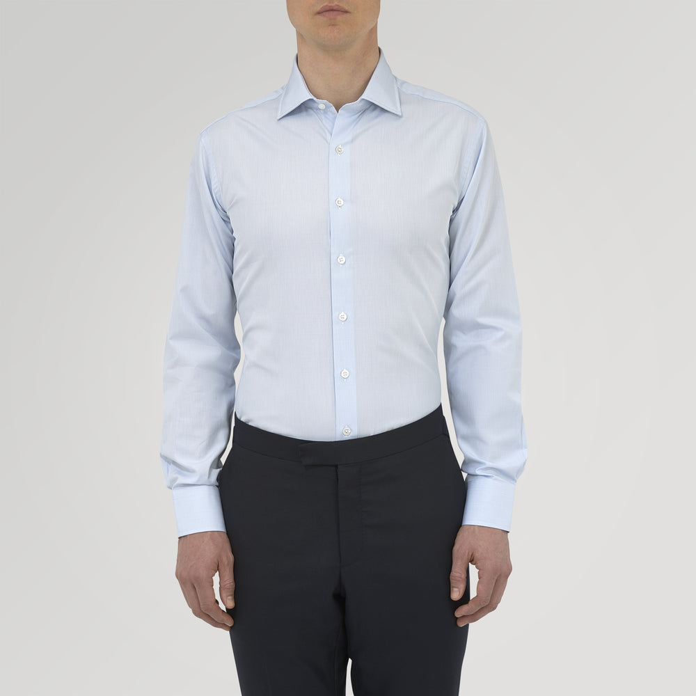 Tailored Fit Light Blue Fine Check Shirt with Kent Collar and 2-Button Cuffs