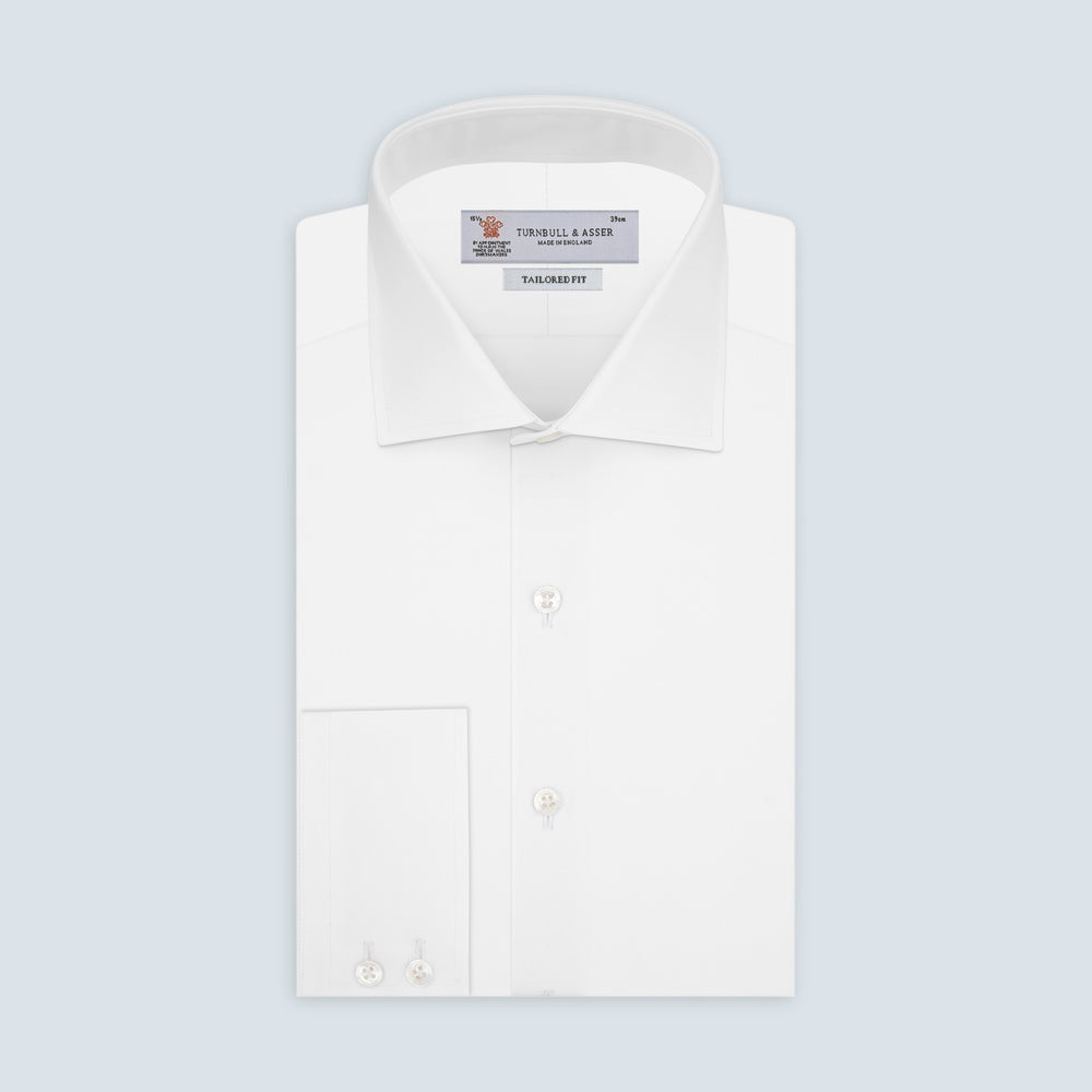 Tailored Fit Two-Fold 120 White Cotton Shirt with Kent Collar and 2-Button Cuffs