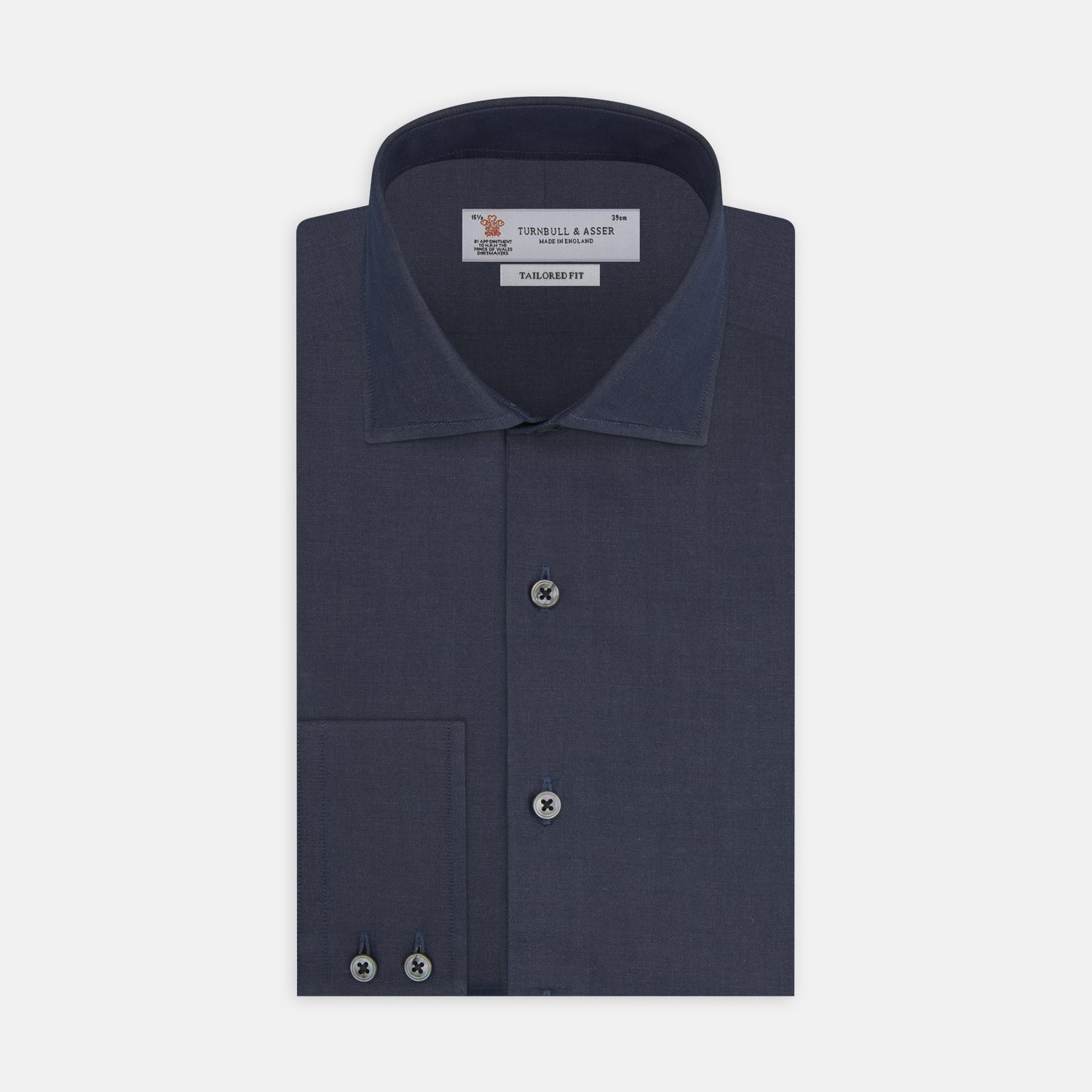 Tailored Fit Navy Cashmere Blend Shirt with Kent Collar and 2-Button Cuffs