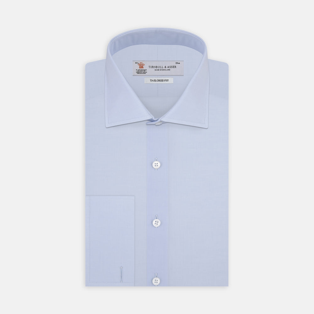 Tailored Fit Two-Fold 120 Light Blue Cotton Shirt with Kent Collar and Double Cuffs