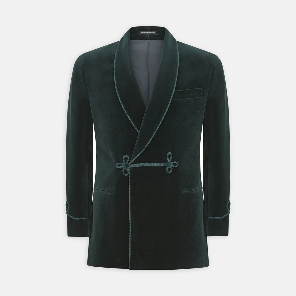 Green Double Breasted Velvet Smoking Jacket