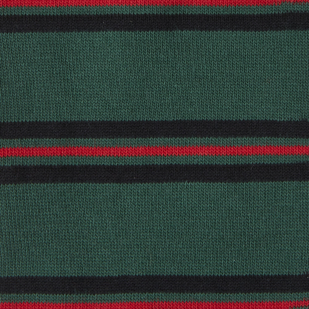 Forest Green, Black and Red Stripe Cotton Mix Short Socks