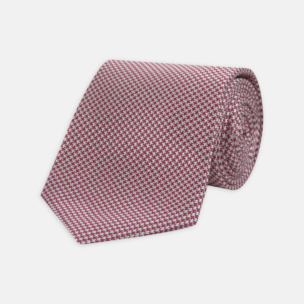 Dark Pink Houndstooth Silk Tie