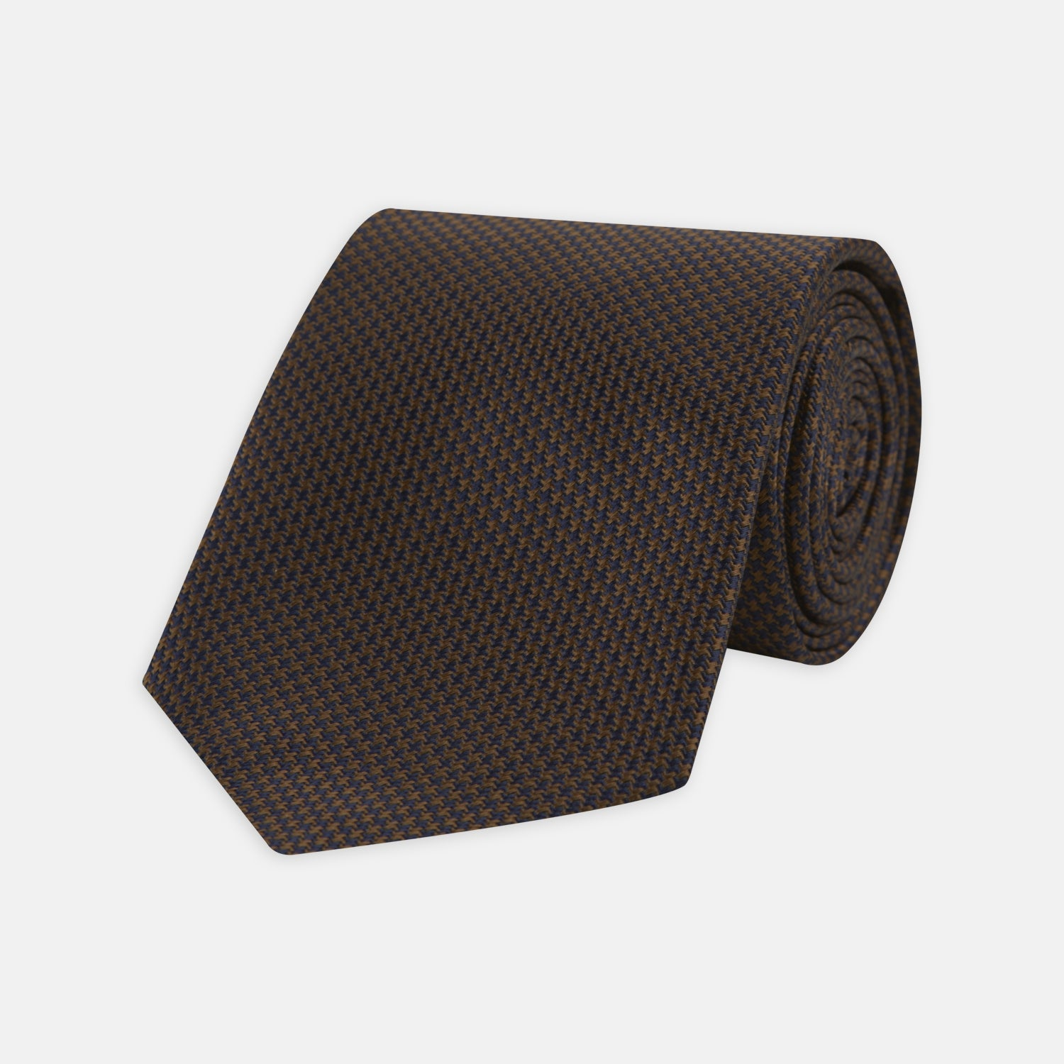 Navy and Brown Houndstooth Silk Tie