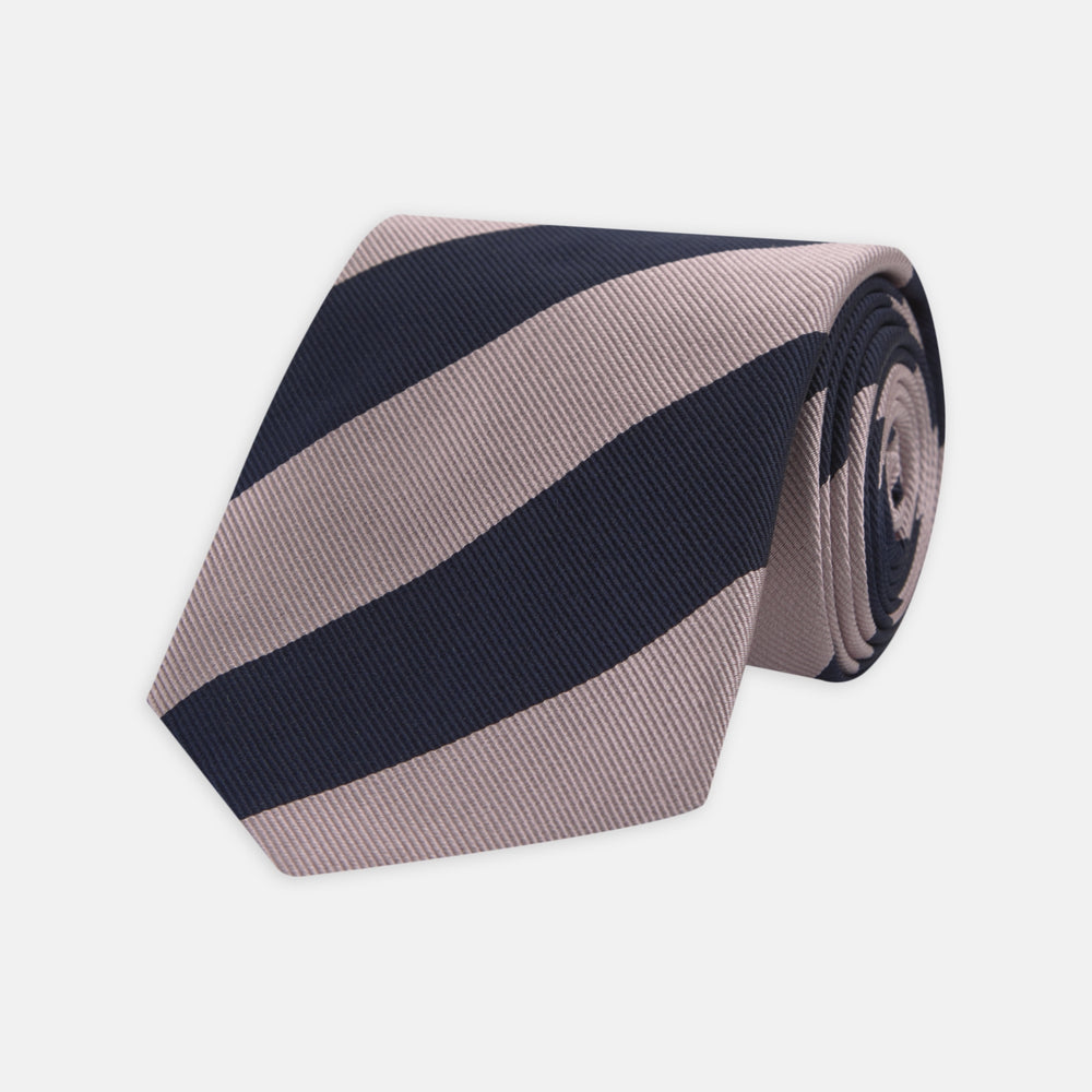 Navy and Rose Block Stripe Repp Silk Tie