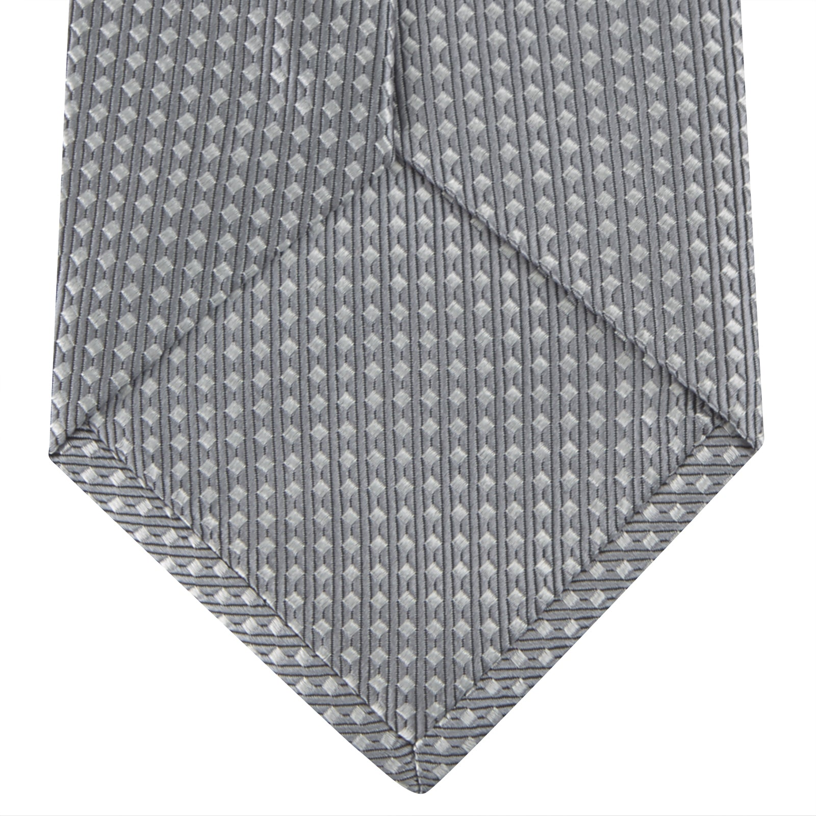 Grey and White Diamond Silk Tie