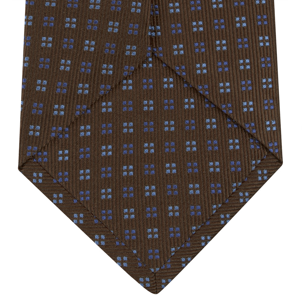Brown and Blue Mini Square Spot Silk Tie