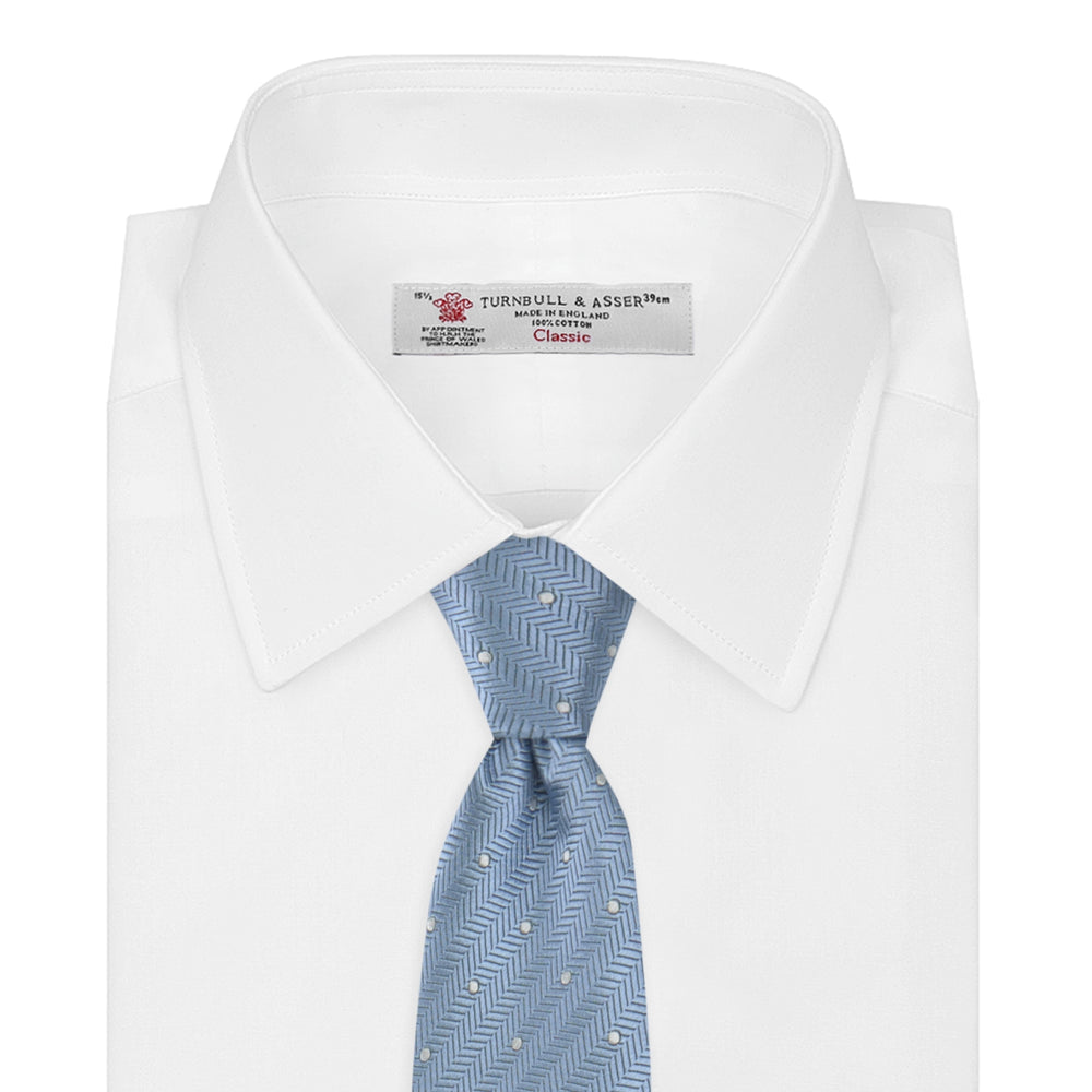 Ice Blue and White Small Spot Herringbone Silk Tie