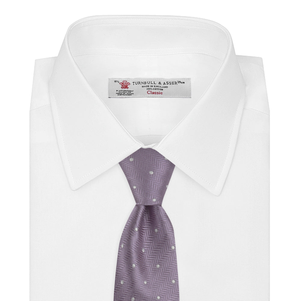 Lilac and White Small Spot Herringbone Silk Tie