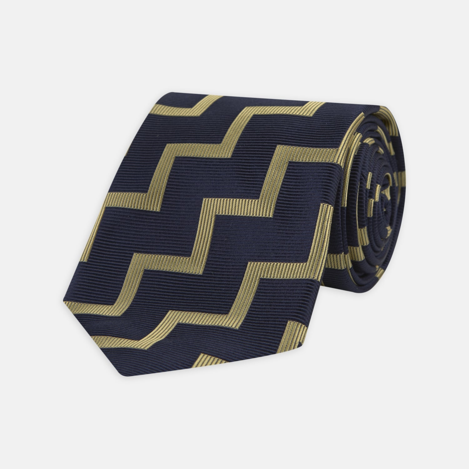 Navy and Gold Striped Zigzag Silk Tie