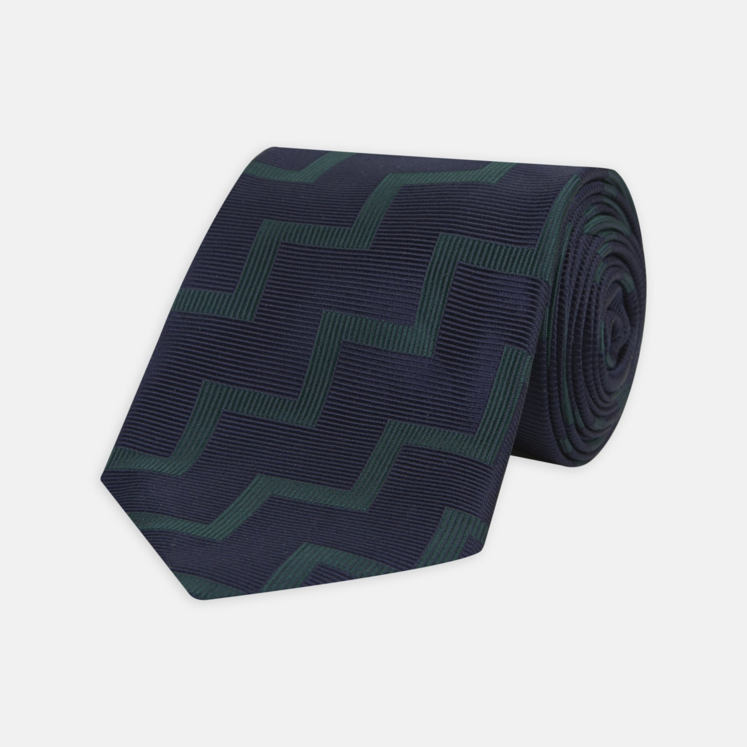 Navy and Forest Green Striped Zigzag Silk Tie