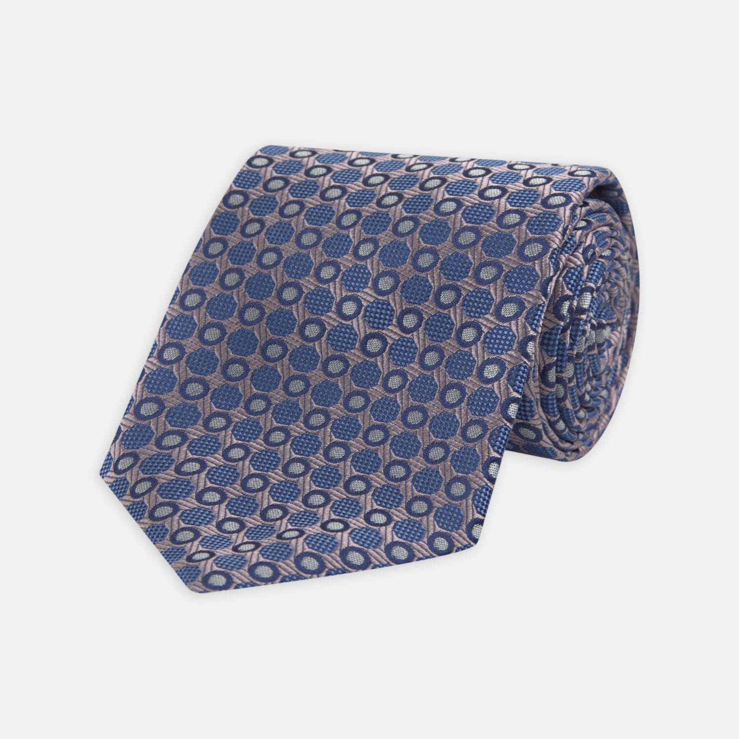 Rose and Blue Circle and Spot Silk Tie