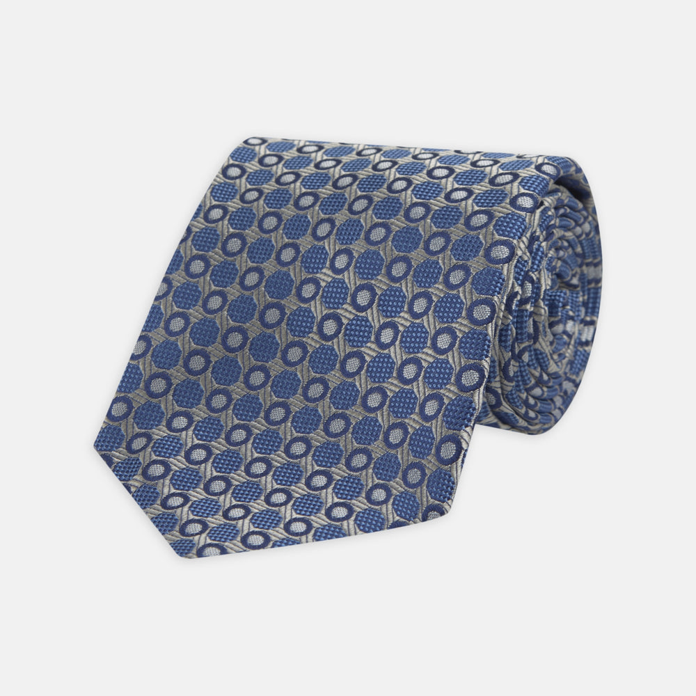 Silver and Blue Circle and Spot Silk Tie