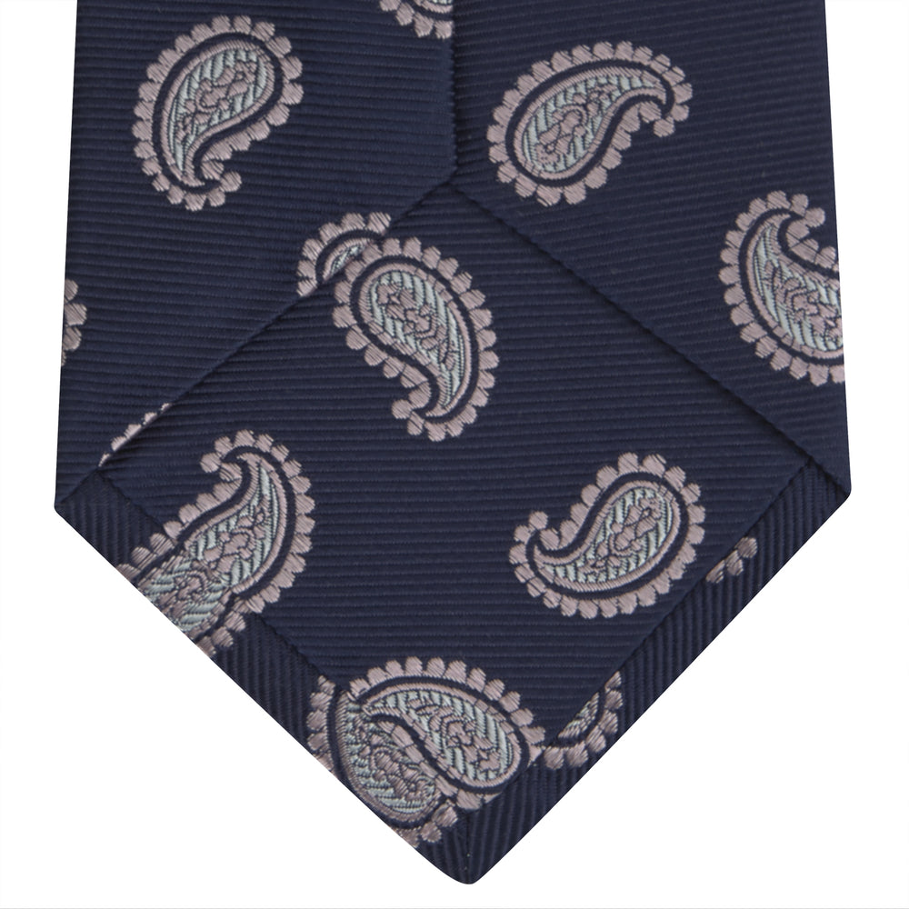 Navy and Light Pink Floating Paisley Silk Tie