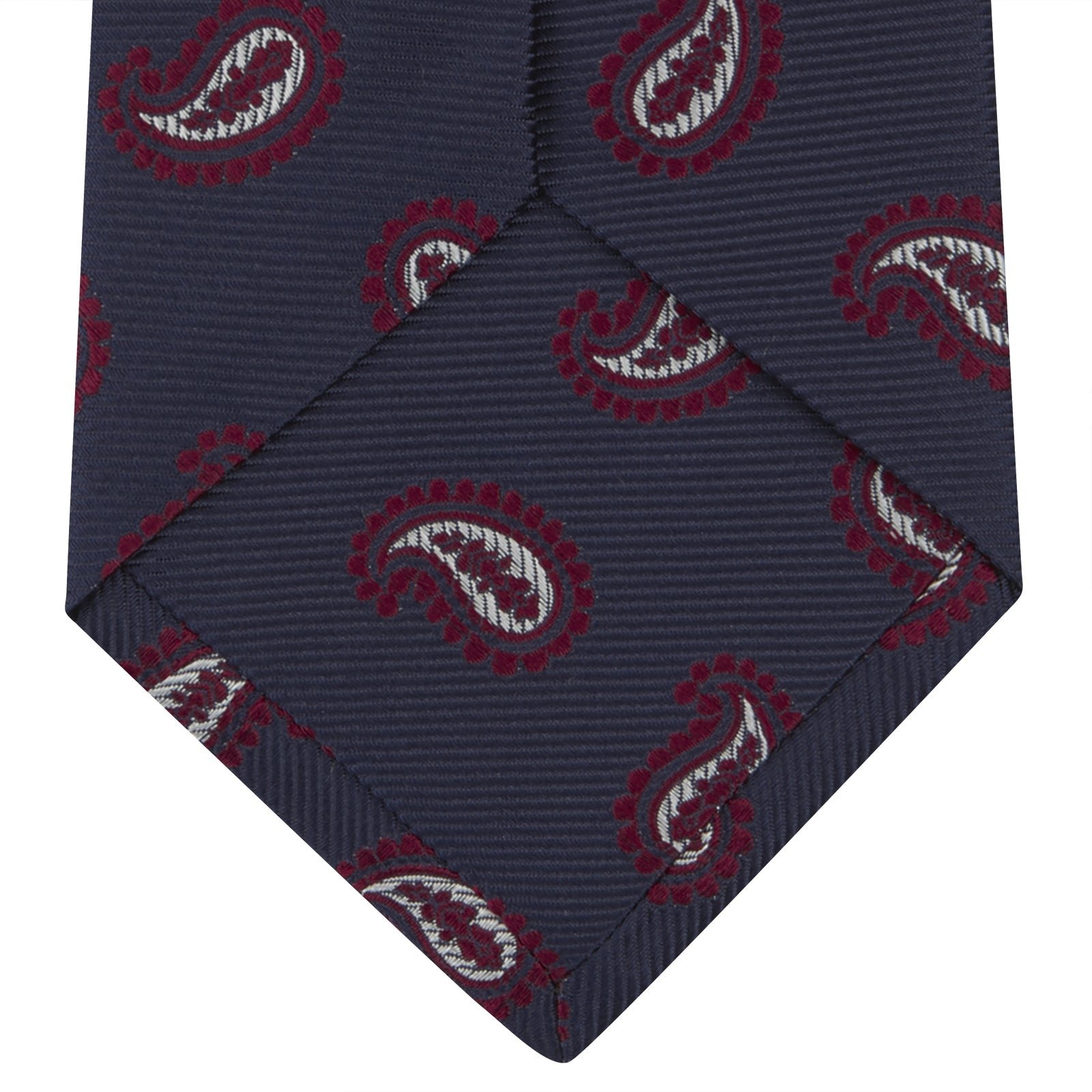 Navy and Burgundy Floating Paisley Silk Tie