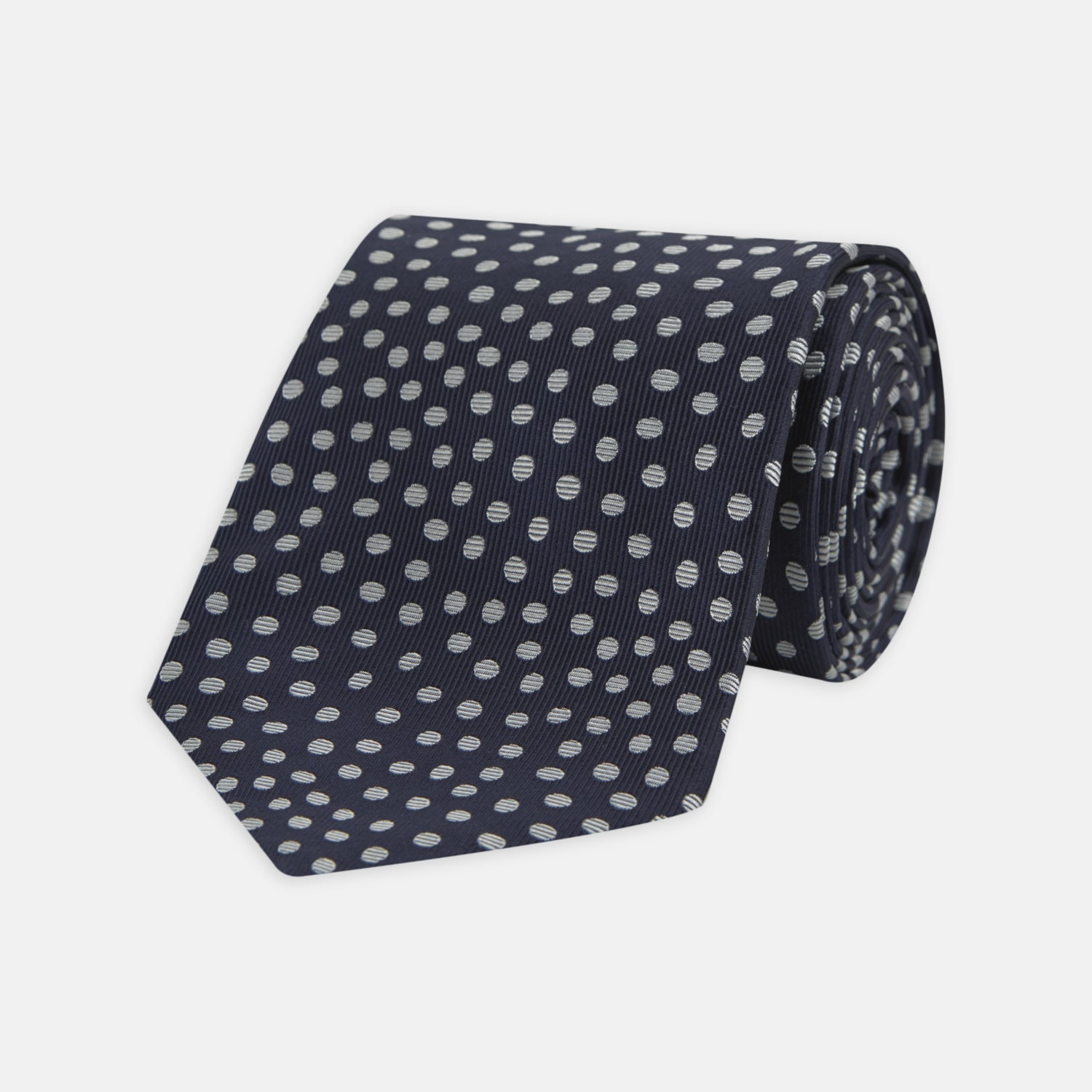Navy and White Paint Spot Silk Tie