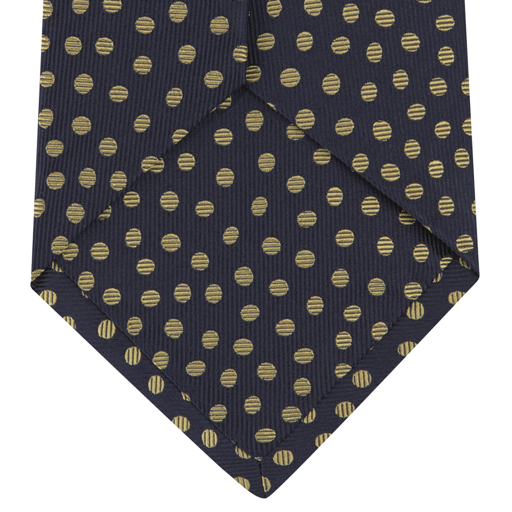 Navy and Gold Paint Spot Silk Tie