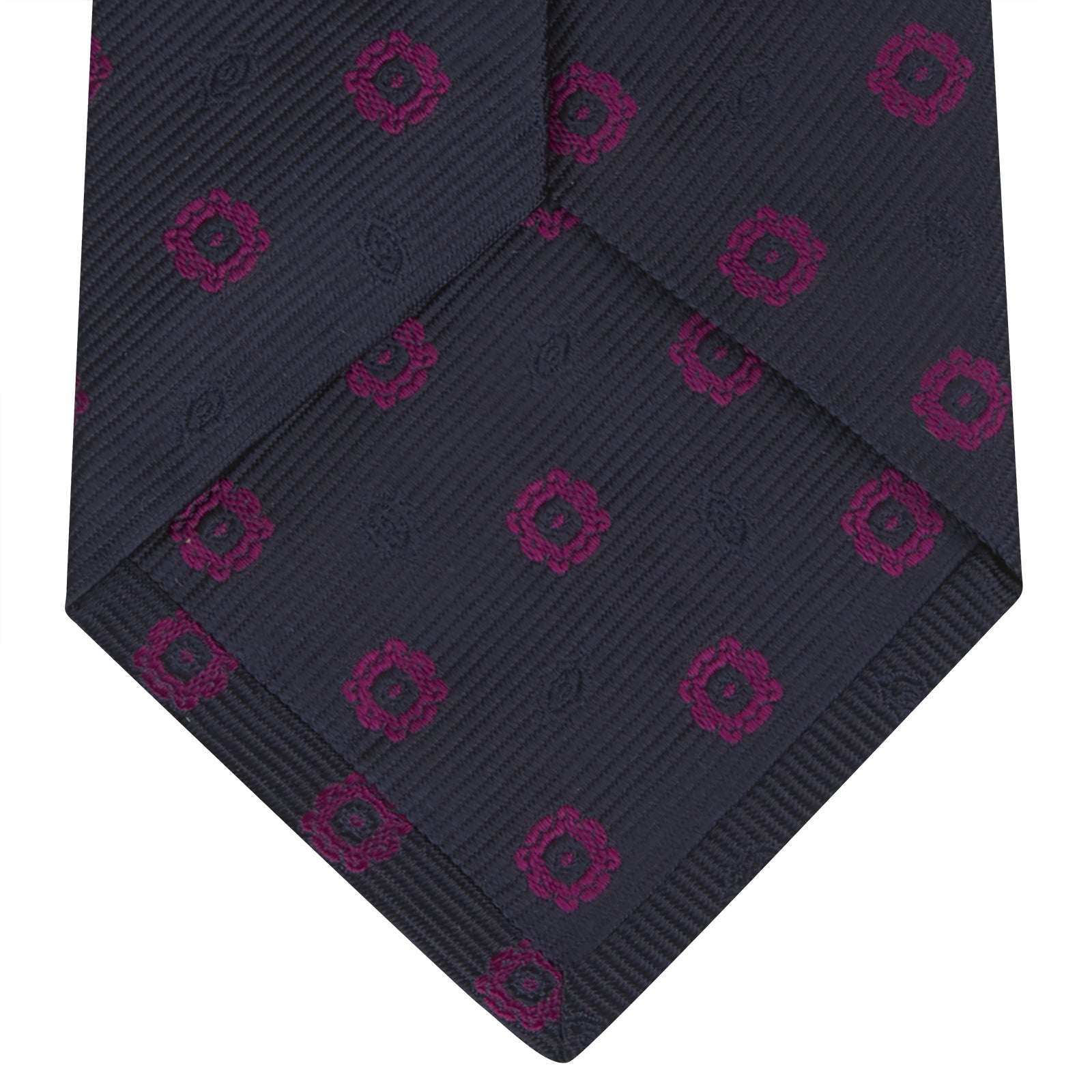 Navy and Dark Pink Emblem Spot Silk Tie