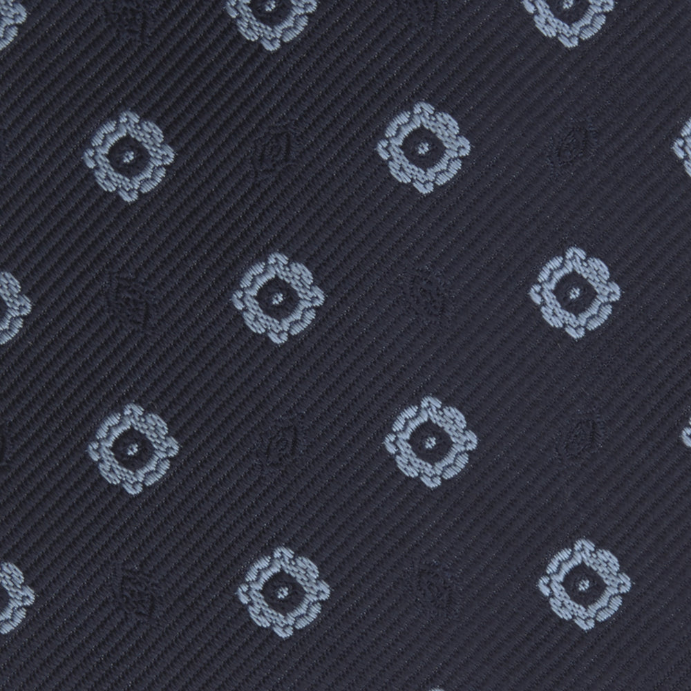 Navy and Light Blue Emblem Spot Silk Tie