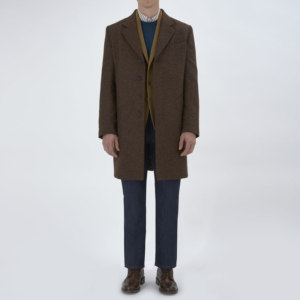 Hopton Brown Herringbone Wool Coat