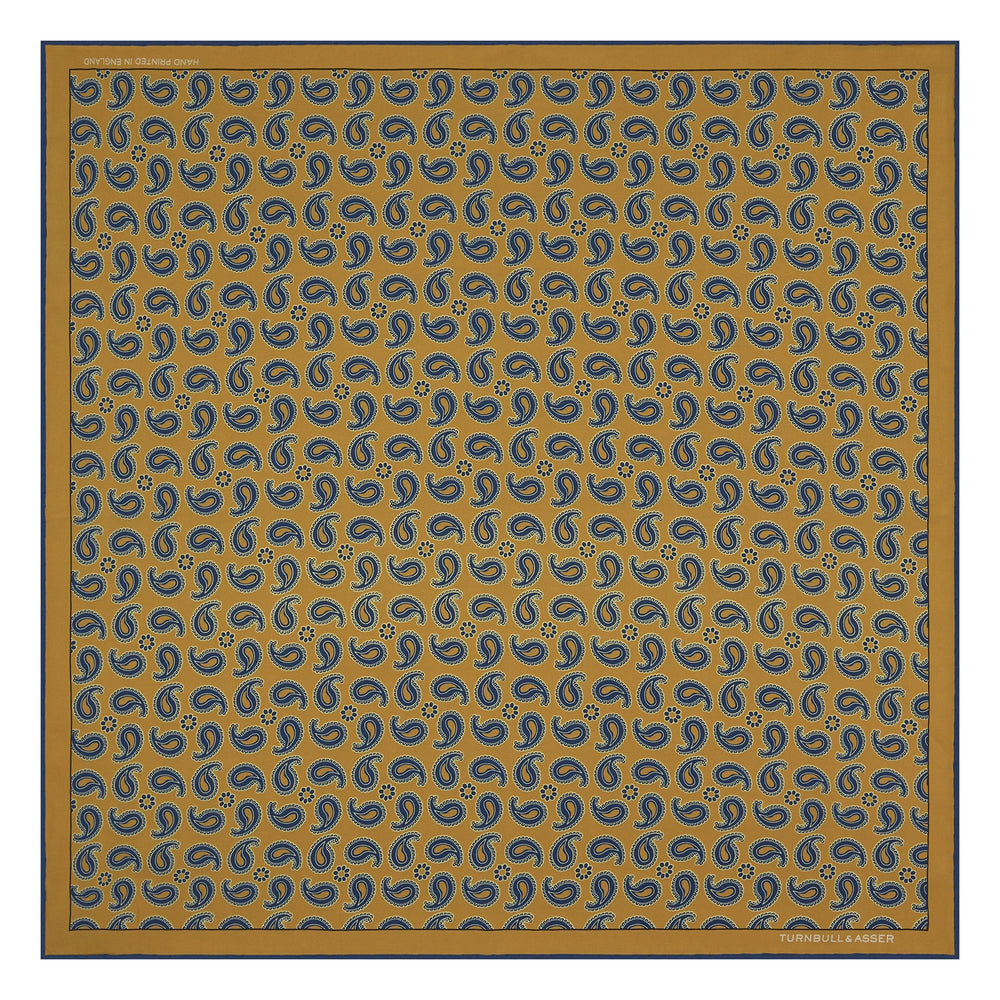 Yellow and Navy Swing Paisley Silk Pocket Square