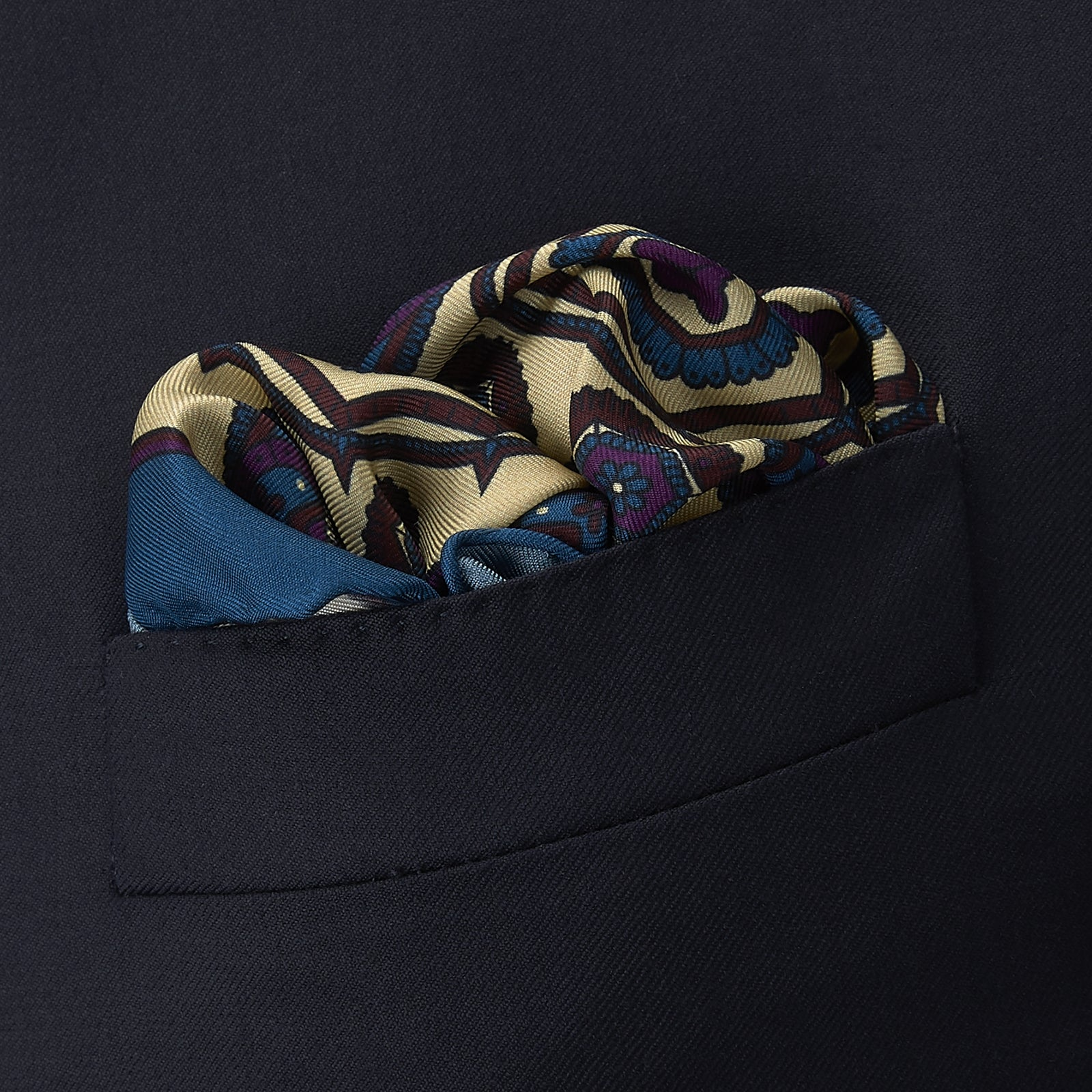Cream and Blue Ensemble Silk Pocket Square