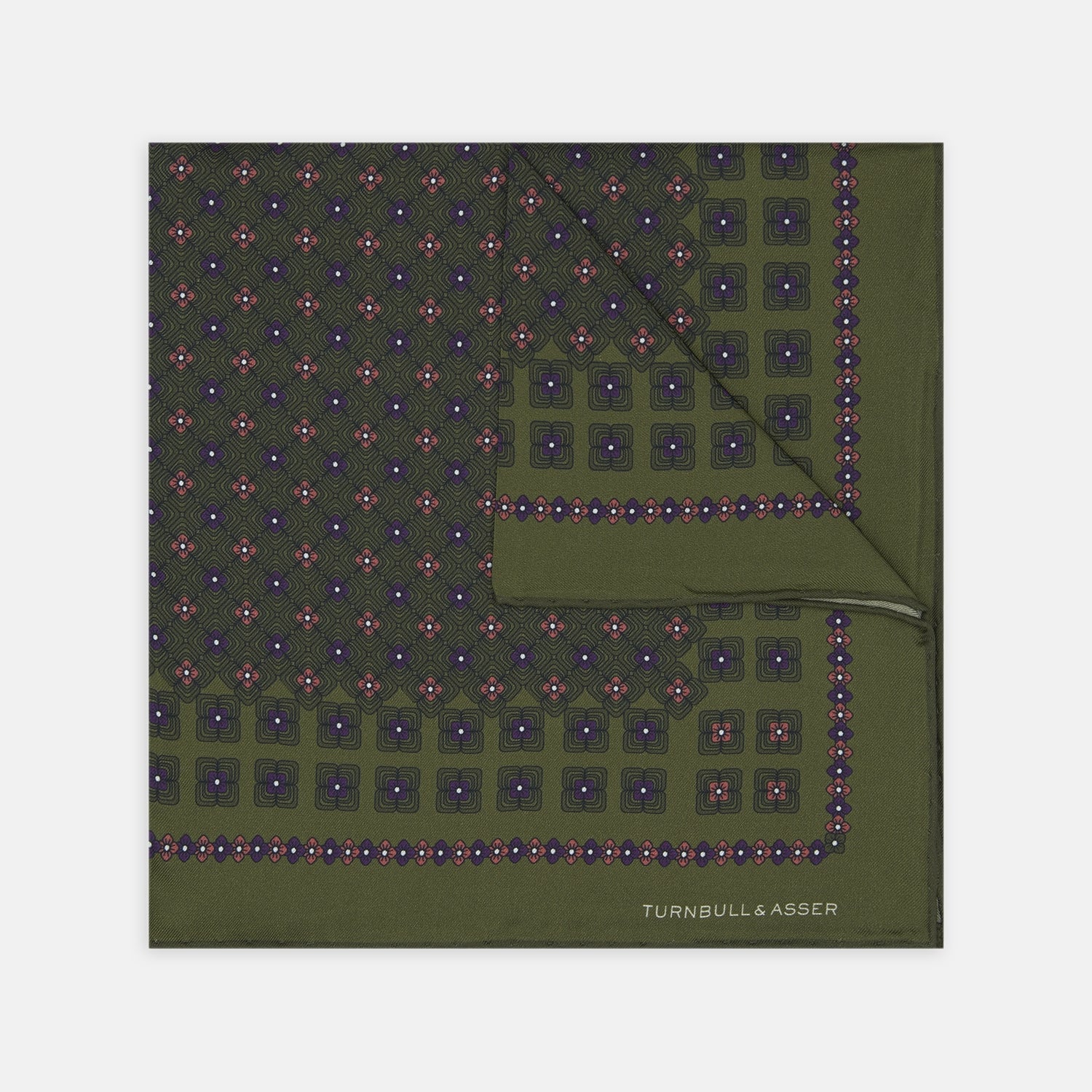 Green Rose Silk Pocket Square