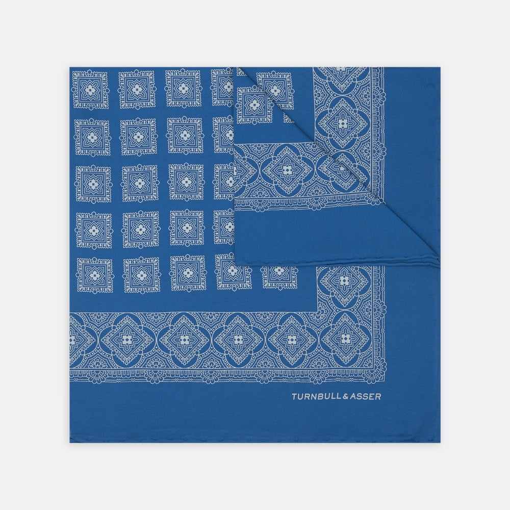 Turquoise Classical Medallion Silk Pocket Square