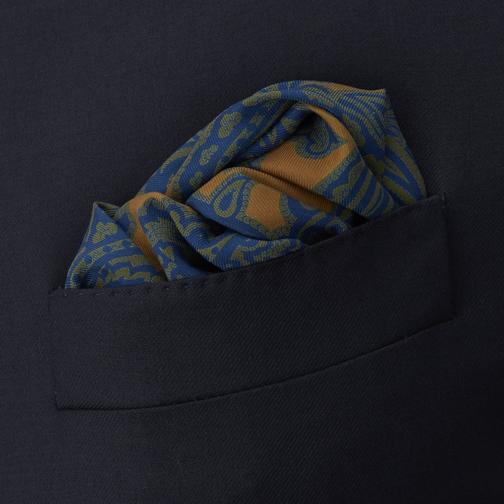 Orange, Green and Navy Paisley Vine Silk Pocket Square