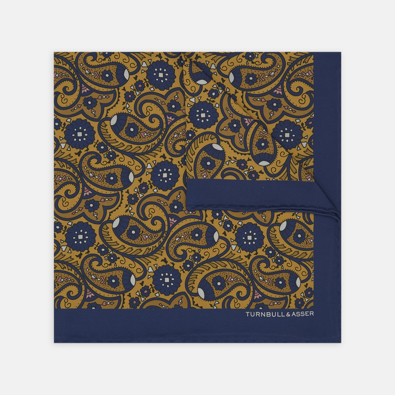 Yellow and Navy Paisley Swirl Silk Pocket Square