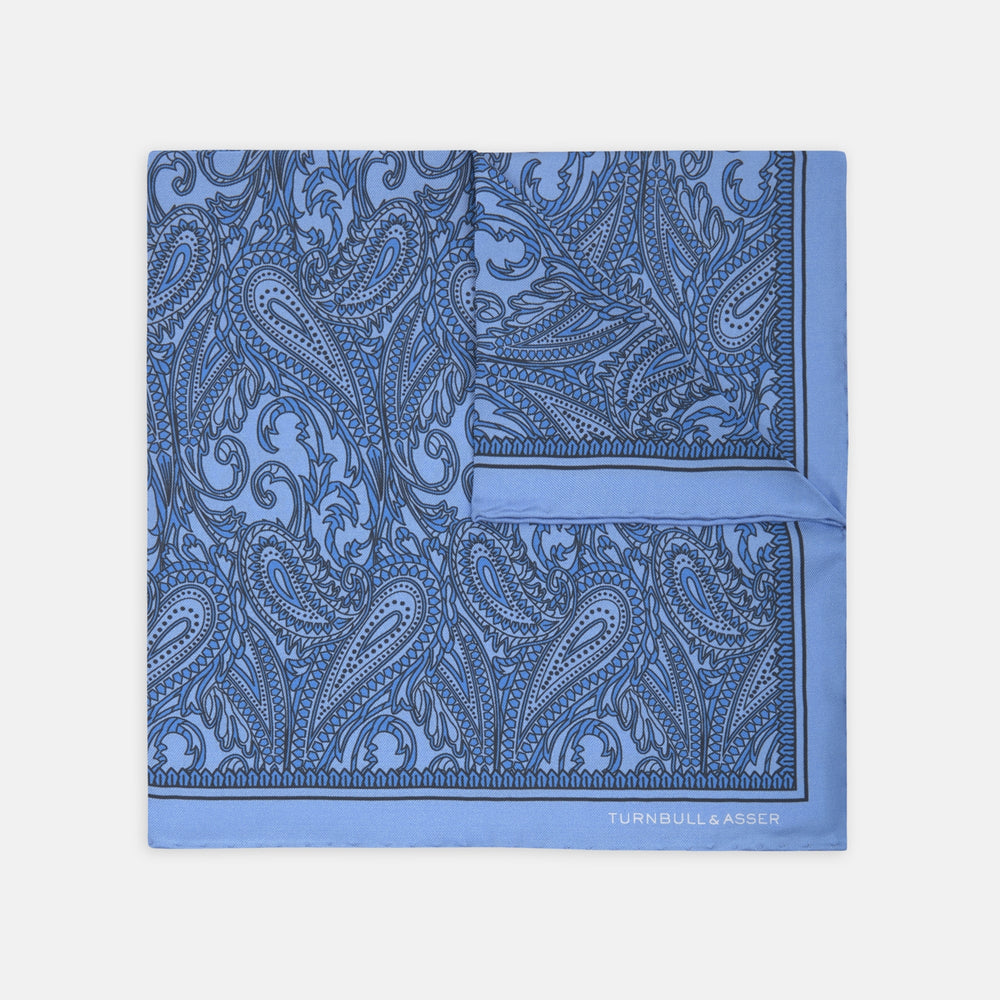 Blue House Paisley Silk Pocket Square