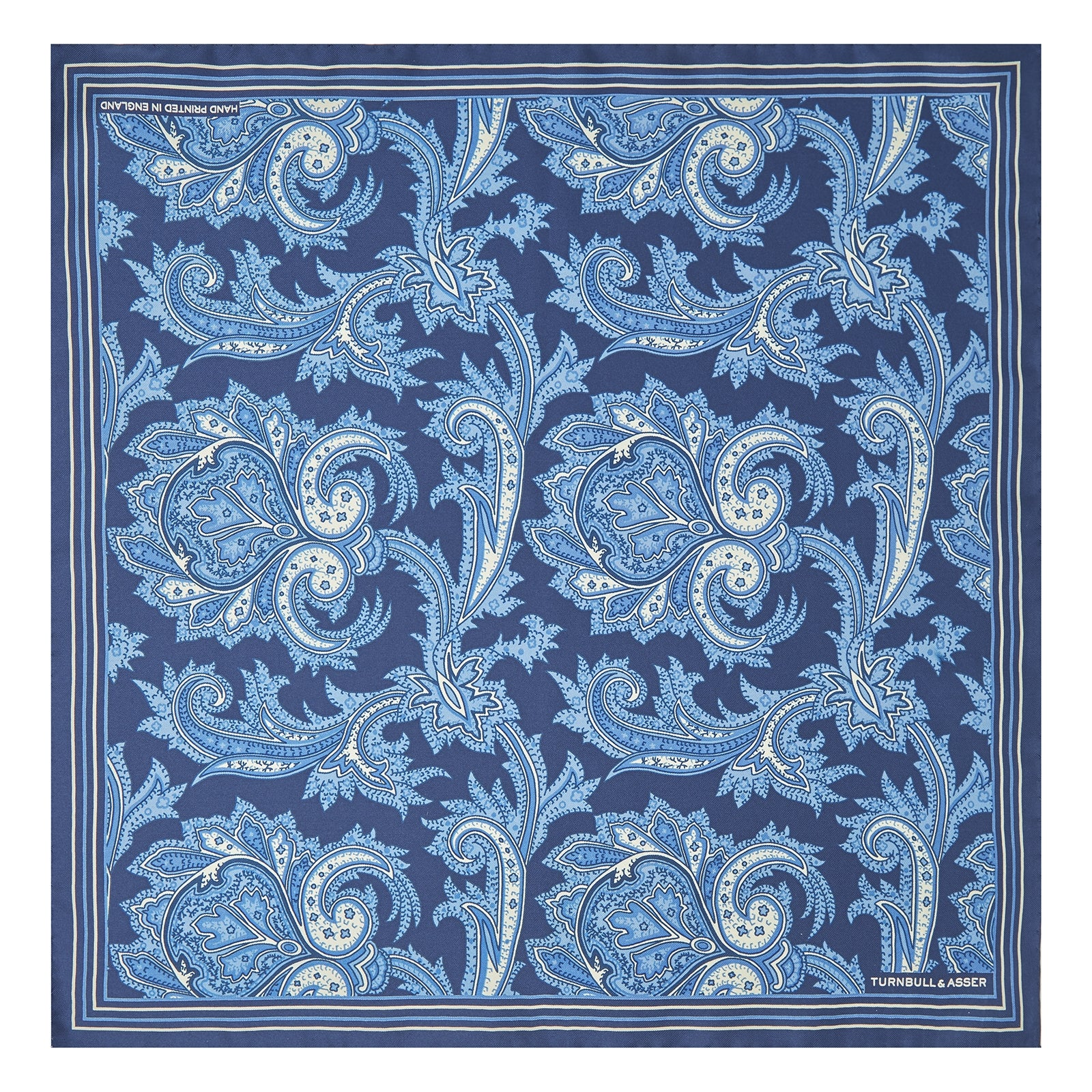 Blue Large Paisley Silk Pocket Square