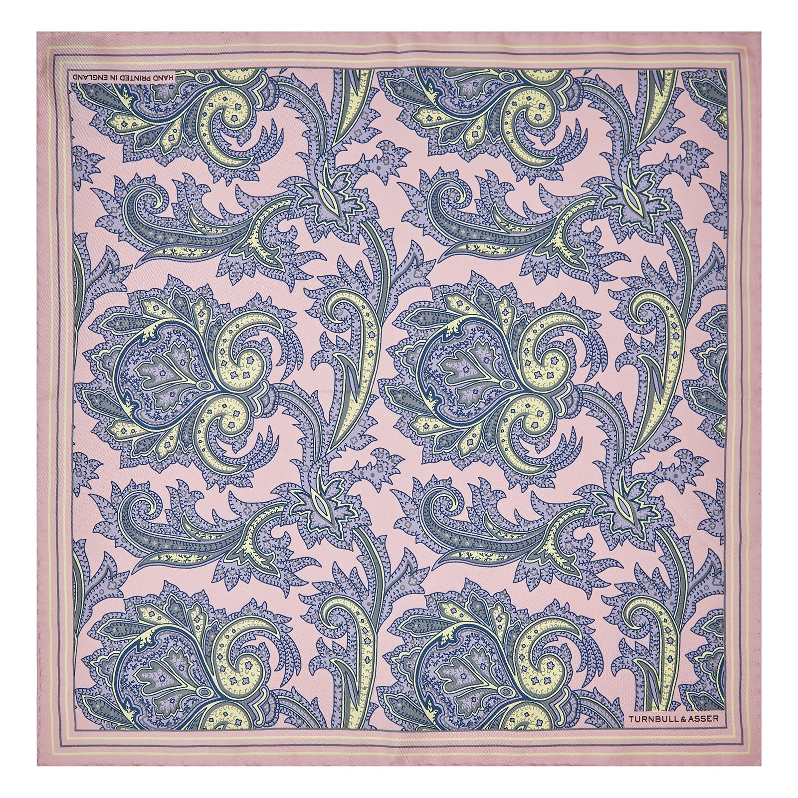Pink Large Paisley Silk Pocket Square