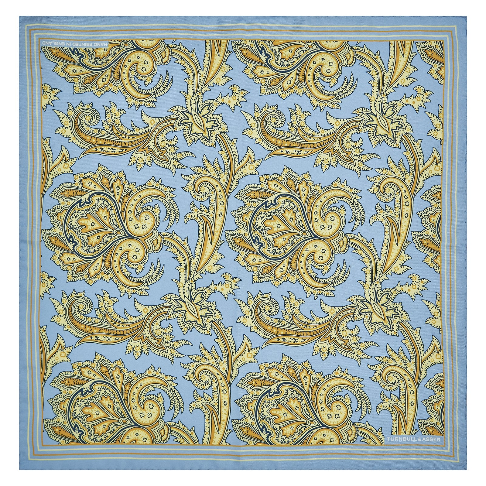 Light Blue and Yellow Large Paisley Silk Pocket Square