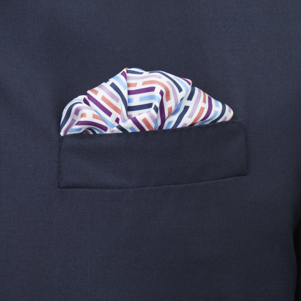 Pink and Blue Ladder Silk Pocket Square