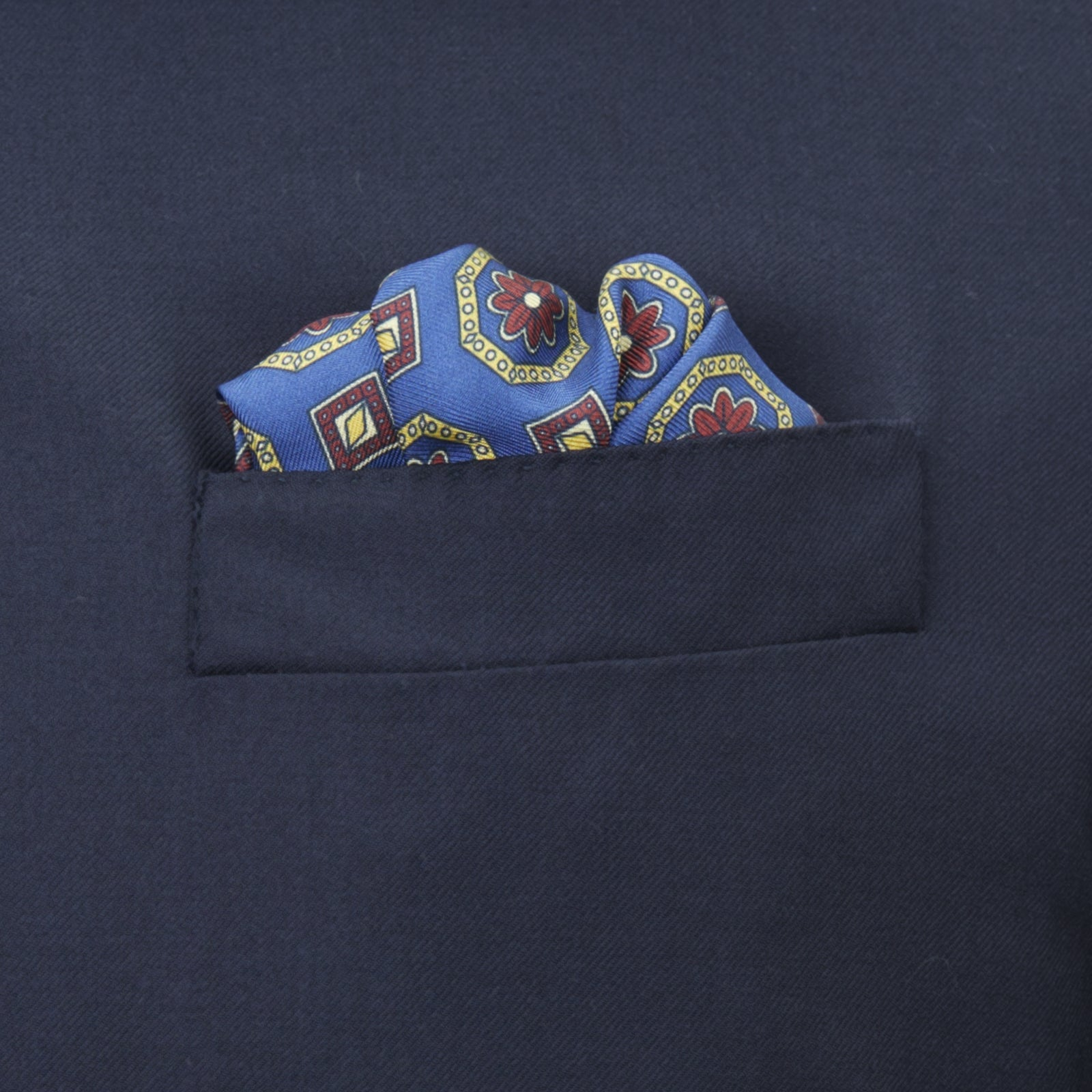 Navy and Red Medallion Silk Pocket Square