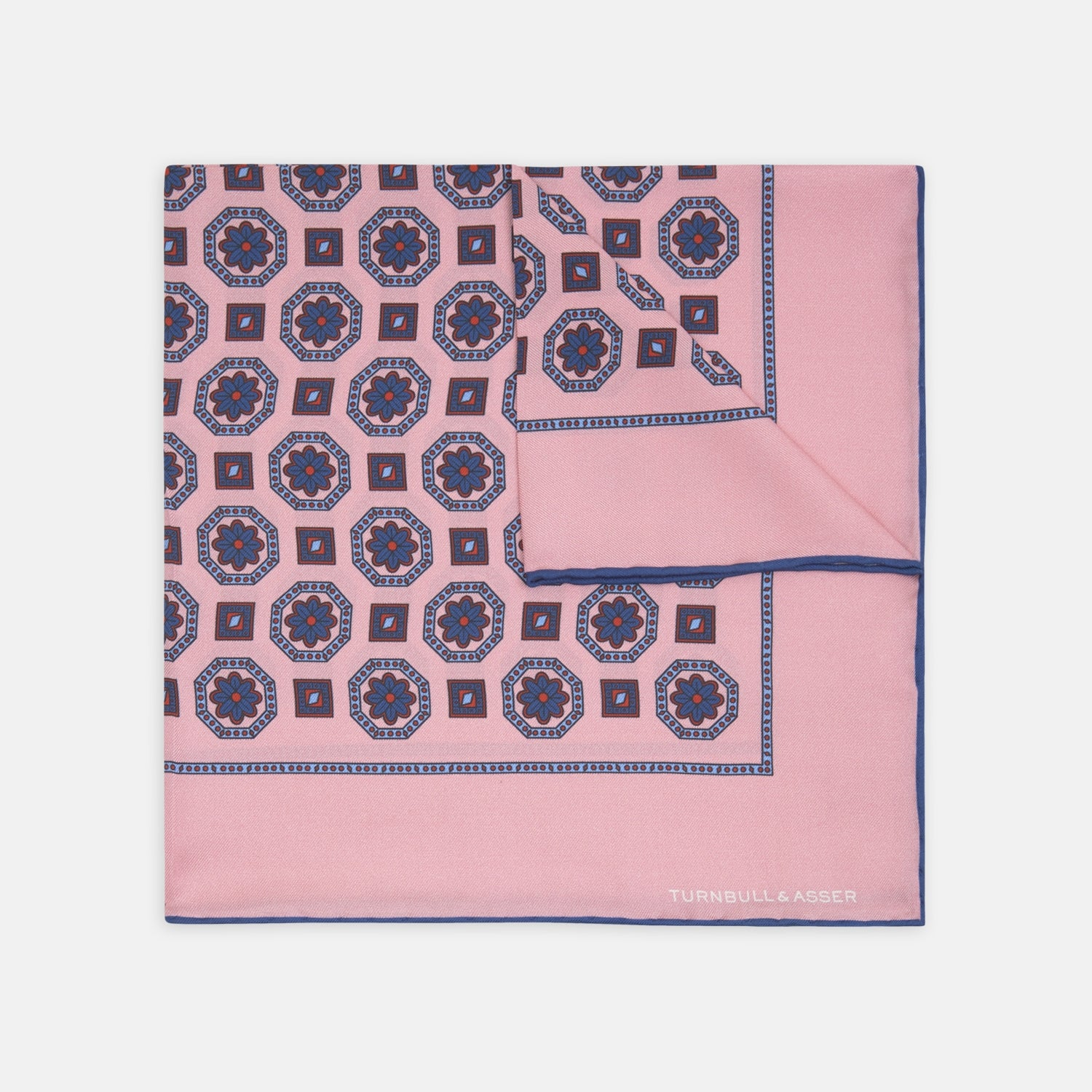 Navy and Pink Medallion Silk Pocket Square