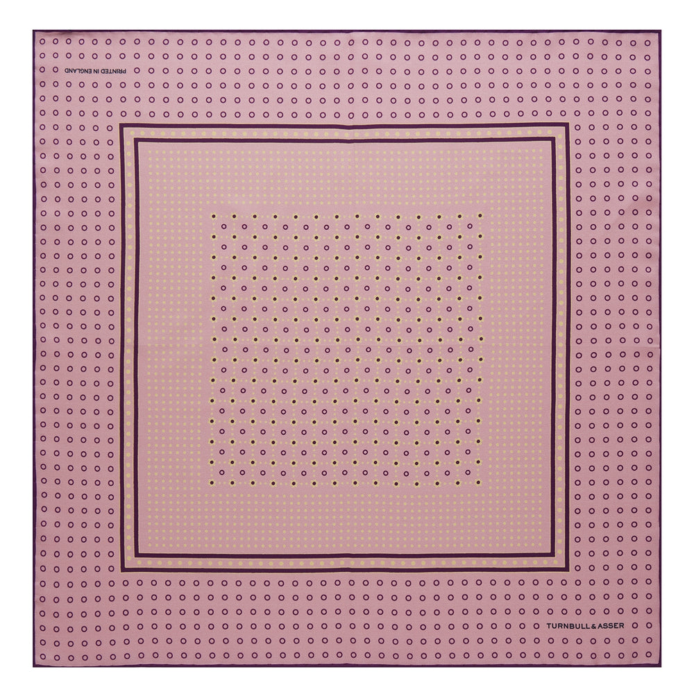 Pink Dotted Floral Silk Pocket Square