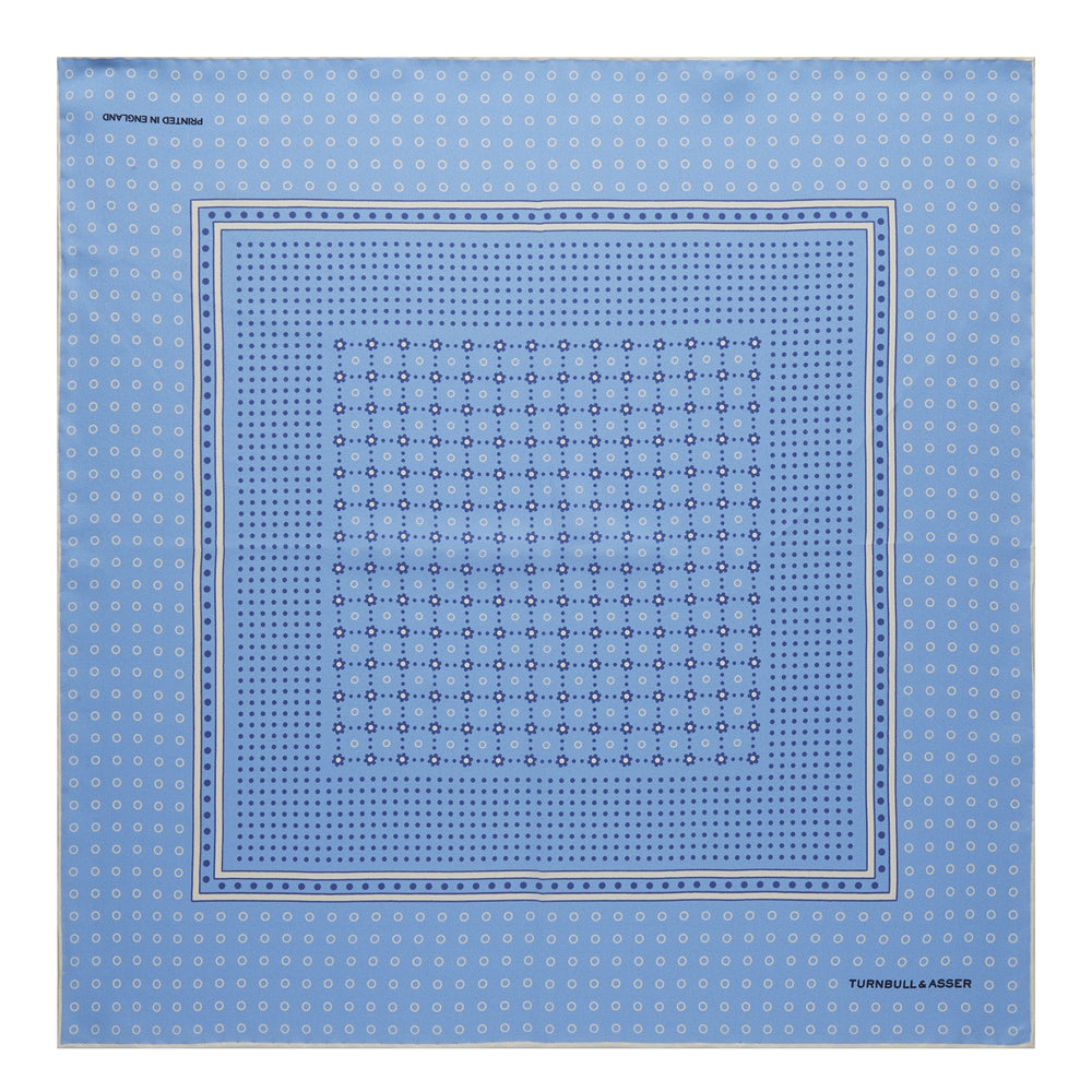 Sky Blue Dotted Floral Silk Pocket Square
