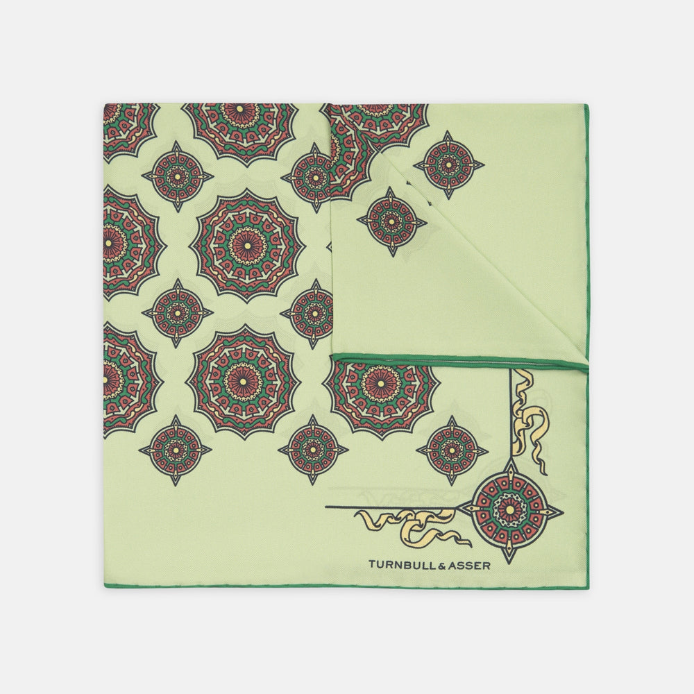 Pistachio Green Compass Silk Pocket Square