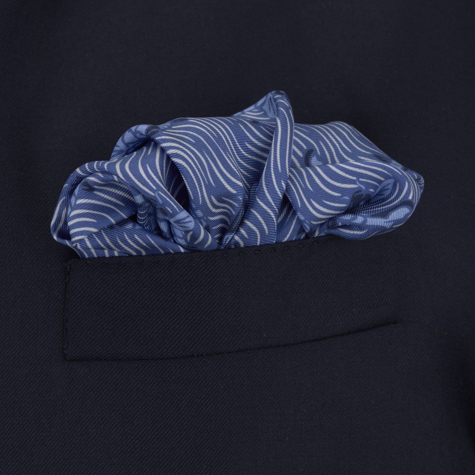 Blue Carp Silk Pocket Square