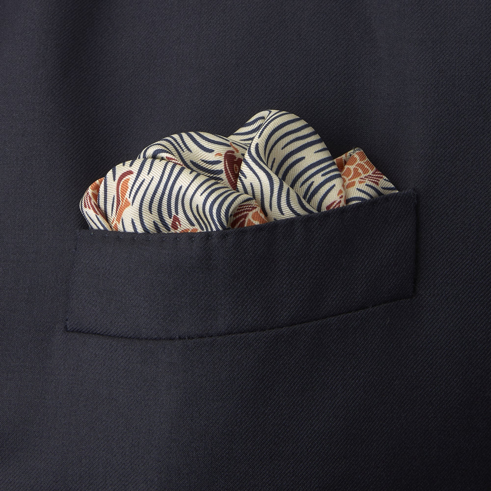 Cream and Red Carp Silk Pocket Square