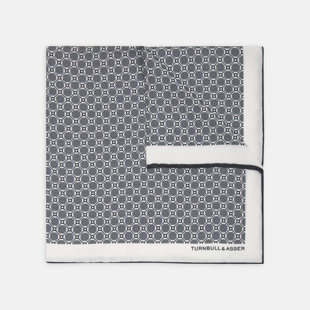 Black and White Checkerboard Silk Pocket Squares