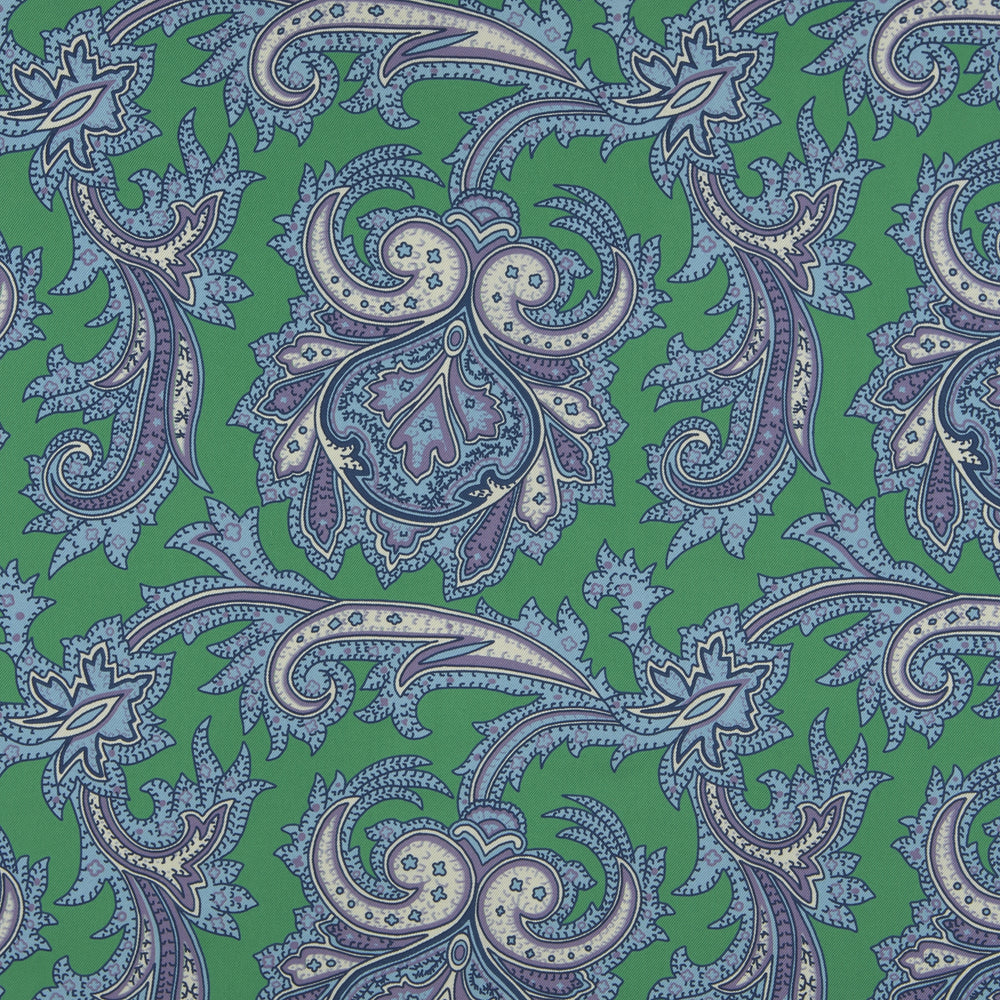 Green and Purple Large Paisley Silk Pocket Square