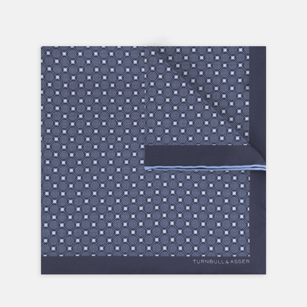 Navy and Sky Blue Checkerboard Silk Pocket Square
