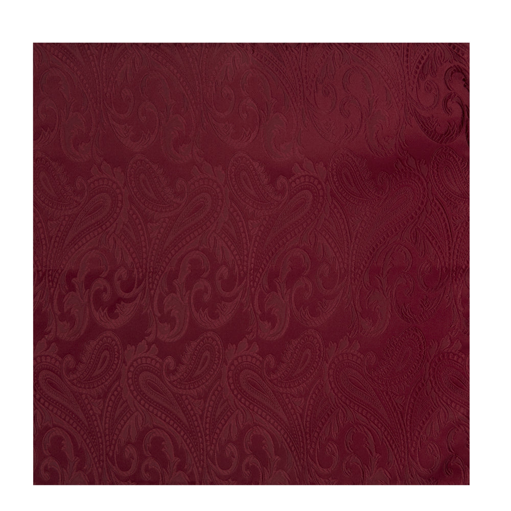 Burgundy House Paisley Hand-Rolled Silk Pocket Square